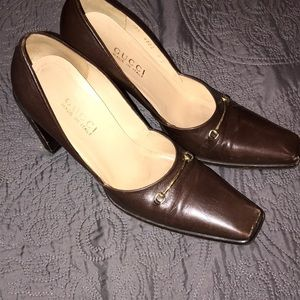 Brown Gucci heels with gold horse bit size 9B